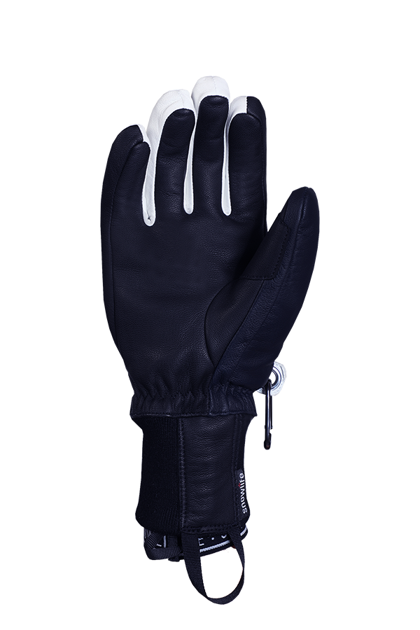 Classic Leather Glove, a real freeride glove made of leather with Lavalan wool insulation in the colours dark blue and white, view palm