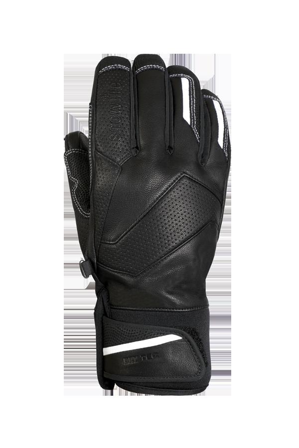gant de course alpin noir en cuir avec des reflets blancs et un design moderne