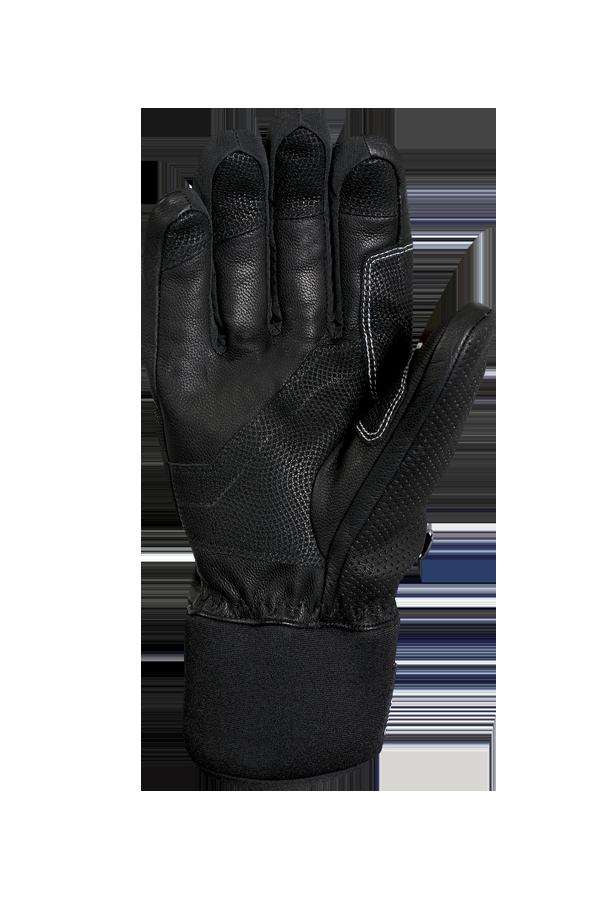 gant de course alpin noir en cuir avec des reflets blancs et un design moderne, paume vue