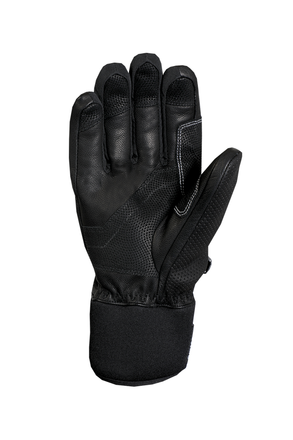 black alpine racing glove made of leather with white highlights and modern design, view palm