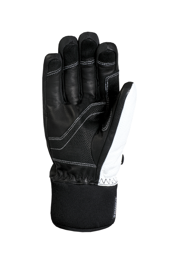 white alpine racing glove made of leather with red highlights and modern design, view palm