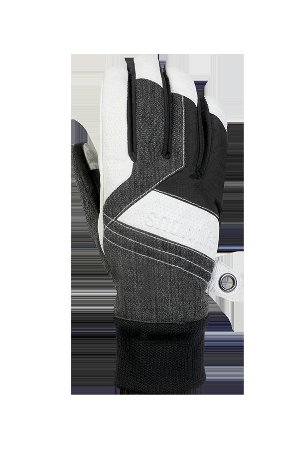 Cruise DT Glove, le gant freeride fait d'un mélange de textile et de cuir dans les couleurs gris, blanc et noir, vue revers