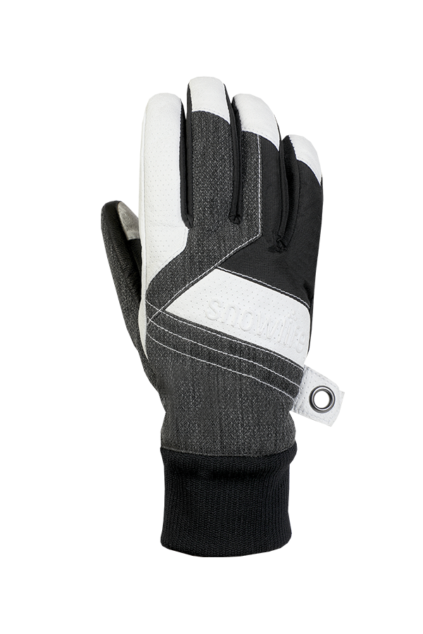 Cruise DT Glove, the freeride glove made of a textile and leather mix in the colours grey, white and black, view backhand