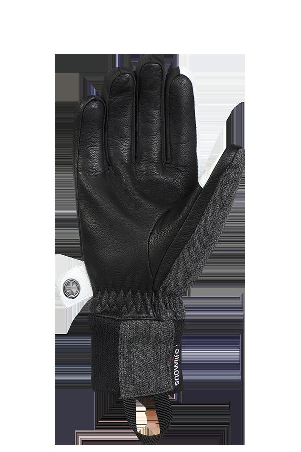 Cruise DT Glove, le gant de freeride fait d'un mélange de textile et de cuir dans les couleurs gris, blanc et noir, voir la paume.