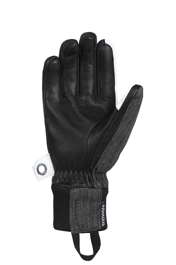 Cruise DT Glove, the freeride glove made of a textile and leather mix in the colours grey, white and black, view palm