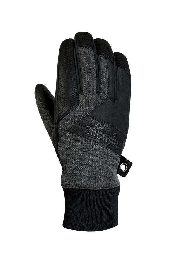 Cruise DT Glove, the freeride glove made of a textile and leather mix in the colours grey and black, backhand view