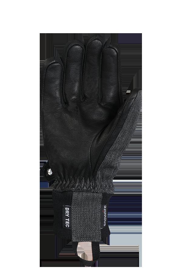 Cruise DT Glove, le gant de freeride fait d'un mélange de textile et de cuir en gris et noir, vue sur la paume.