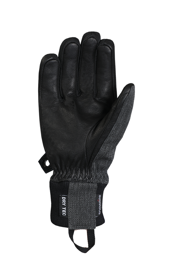 Cruise DT Glove, the freeride glove made of a textile and leather mix in the colours grey and black, view palm