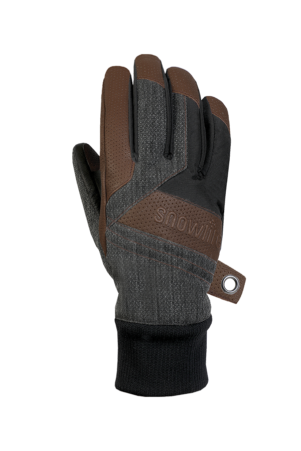 Cruise DT Glove, the freeride glove made of a textile and leather mix in the colours brown, grey and black, backhand view