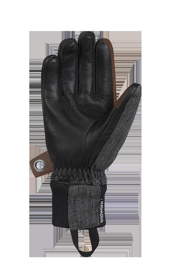 Cruise DT Glove, le gant freeride fait d'un mélange de textile et de cuir dans les couleurs marron, gris et noir, voir la paume.