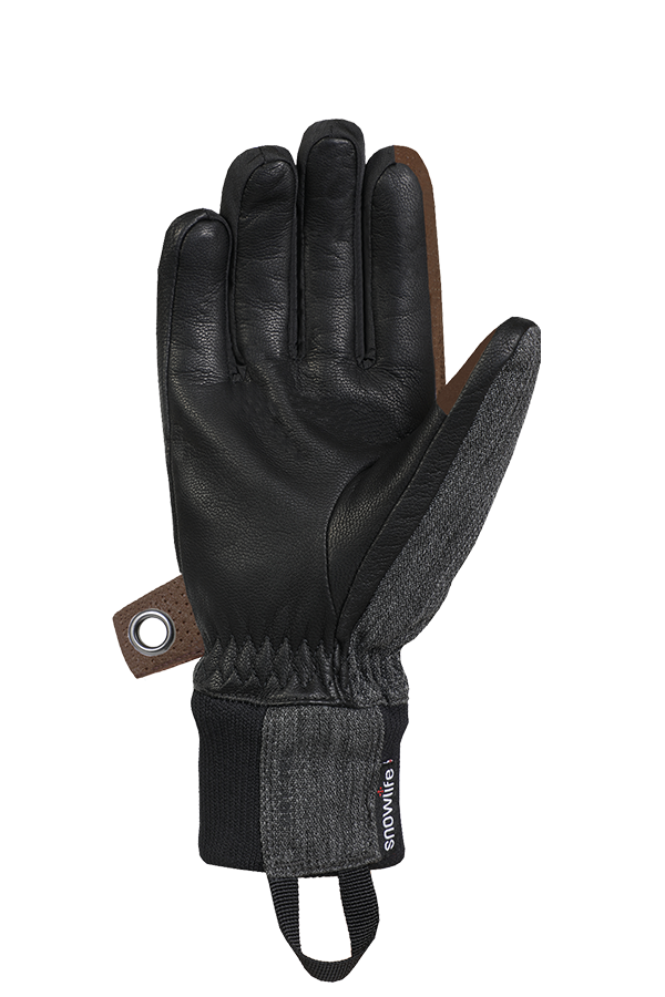 Cruise DT Glove, the freeride glove made of a textile and leather mix in the colours brown, grey and black, view palm