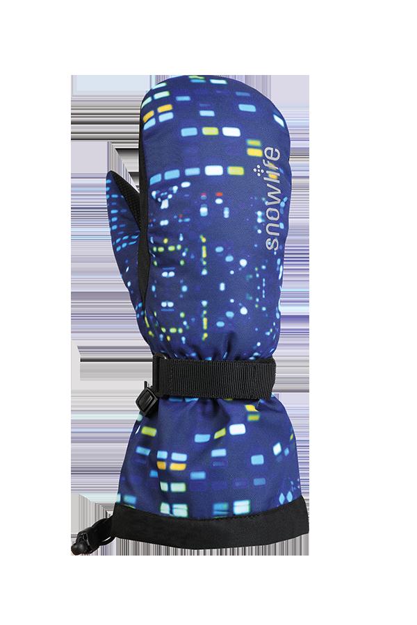 Juniors Long Cuff DT Glove, Mitten, snow flower, blue pattern