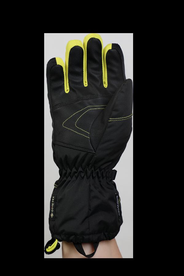 Junior Lucky GTX Glove, gants pour enfants, avec membrane Gore-Text, chaud, respirant, imperméable, noir, jaune