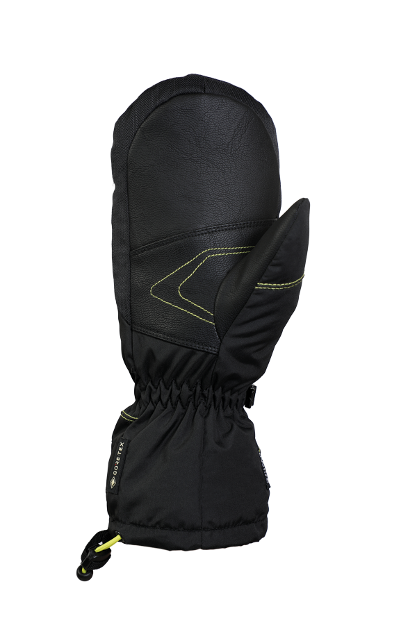 Junior Lucky GTX Mitten, gloves for kids, with Gore-Text membrane, warm, breathable, waterproof, black, yellow