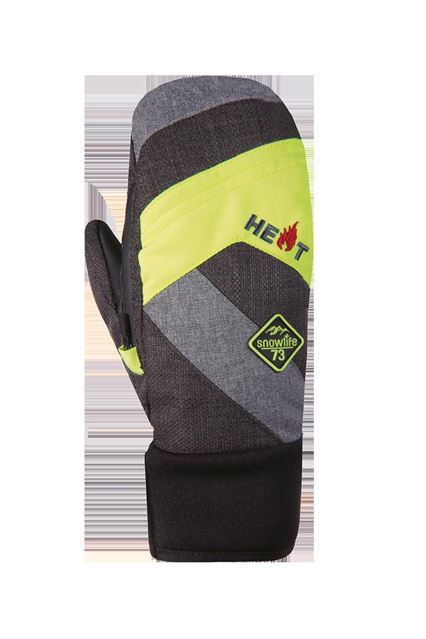 Juniors Thermo Mitten Short, Mitten Gloves for children, extra warm, neon yellow, grey