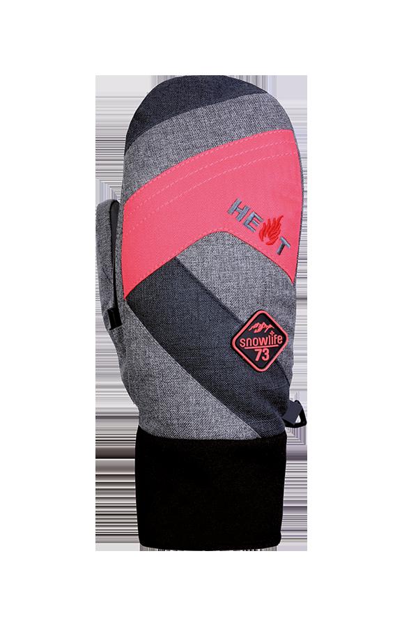 Juniors Thermo Mitten Short, Mitten Gloves for children, extra warm, pink. grey