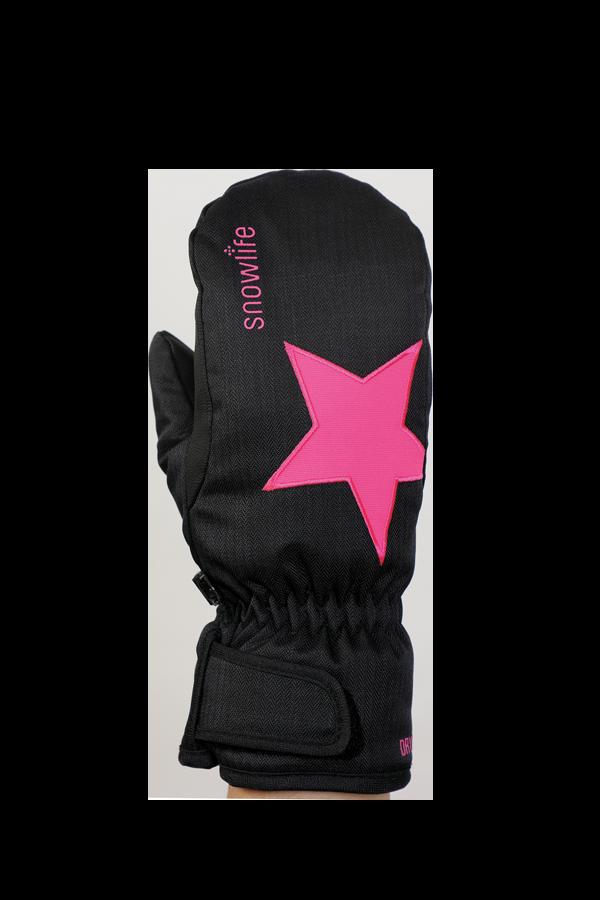 Kids Sirius DT Glove, moufles, Gants pour enfants, très chaud, coupe-vent, imperméable, noir, pink