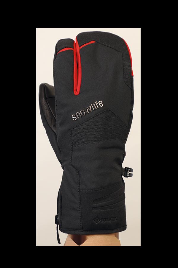 Nevada GTX 3 Fingers, der sportliche Handschuh mit 3-Finger-System, Gore-Tex Membran, sehr atmungsaktiv und robust, rot, schwarz