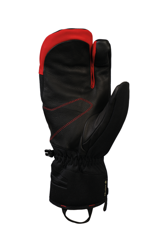Nevada GTX 3 Finger, 3-Finger-System, the sporty glove with Gore-Tex membrane, very breathable and robust, black, red