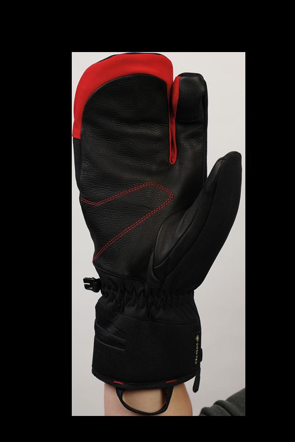 Nevada GTX 3 Fingers, Système à trois doigts, le gant sportif avec membrane Gore-Tex, très respirant et robuste, noir, rouge