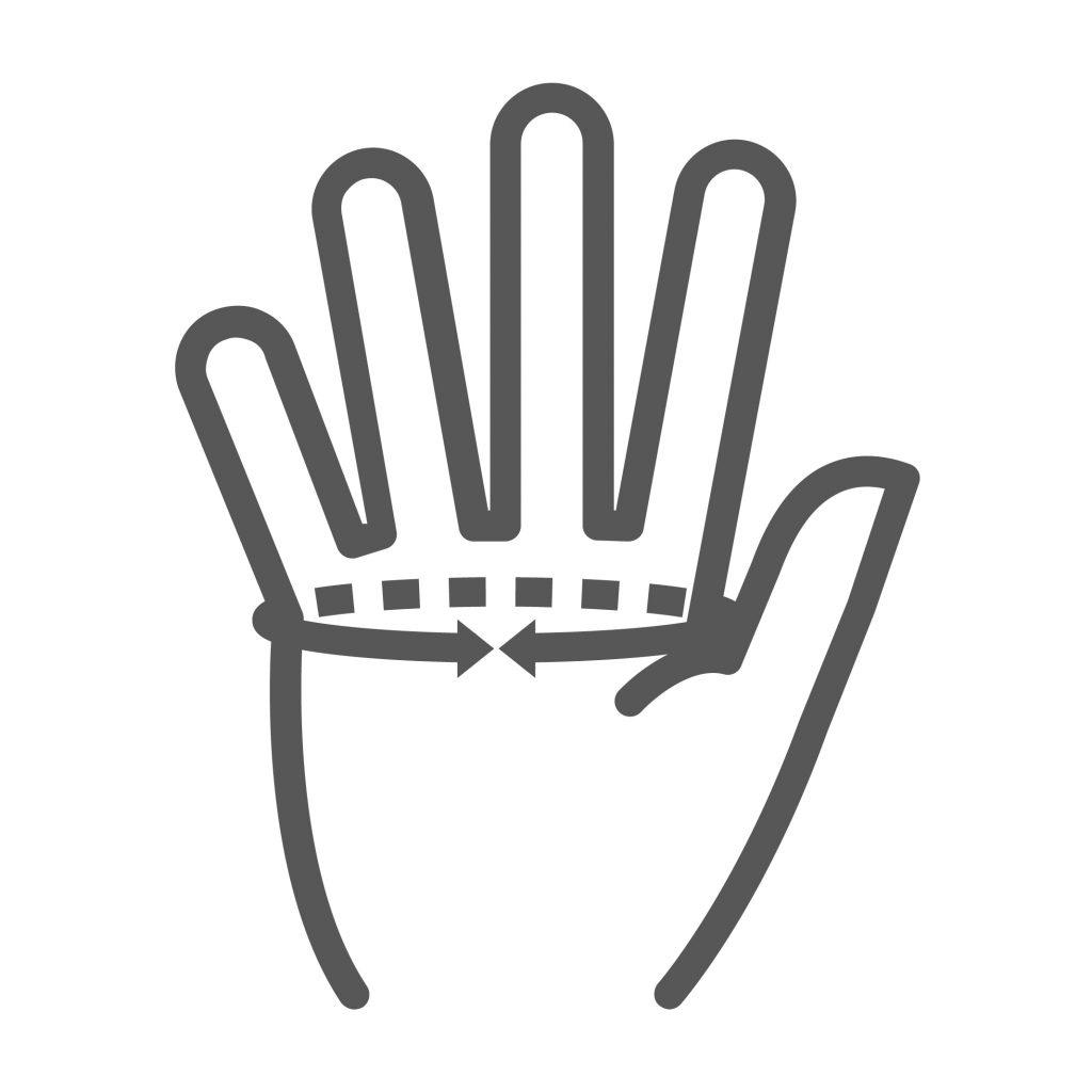 Handgrösse messen zur Ermittlung der Handschuh Grösse